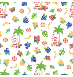 monkey toucan tropical background pattern vector image