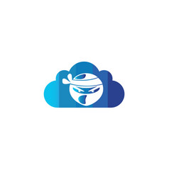 ninja head with angry face design in a cloud vector image