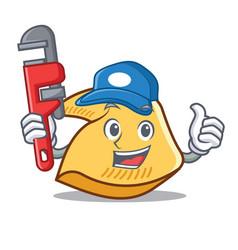 Plumber fortune cookie mascot cartoon vector