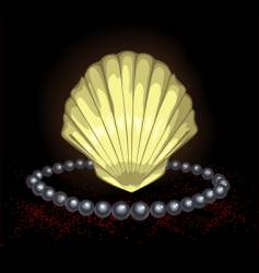 Precious seashell with black pearl vector