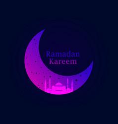ramadan kareem mosque and a crescent stars vector image