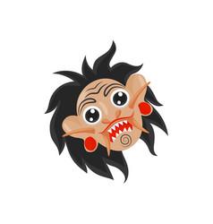 rangda mask with black hair sharp teeth and large vector image