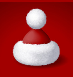 Realistic santa hat with white fur isolated vector