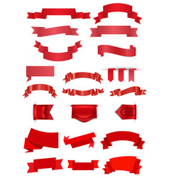 red ribbons collection vector image