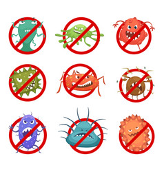 Red round signs with different bacteria and germs vector