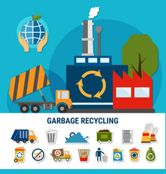 rubbish disposal icon set vector image