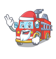 Santa fire truck mascot cartoon vector