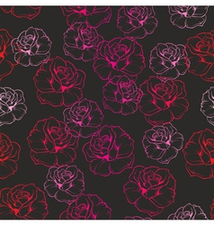 Seamless dark floral pattern with pink red roses vector image