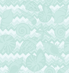 seamless zigzags and seashells vector image