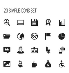 set of 20 editable office icons includes symbols vector image