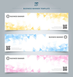 set of abstract banner template yellow blue pink vector image