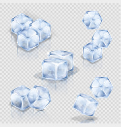 set of ice cubes on the transparent background vector image