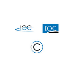 set of initial letter ioc logo template design vector image
