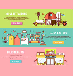 set of milk process horizontal banners in vector image