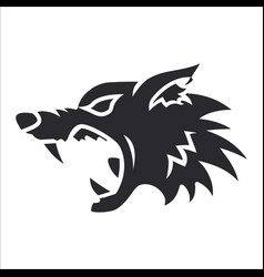 silhouette wolf head label tattoo vector image