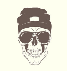 skull with modern hat and sunglasses vector image