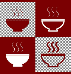 soup sign bordo and white icons and line vector image