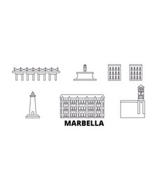 Spain marbella line travel skyline set spain vector