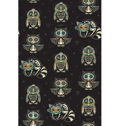 Sugar skull penguin owl and raccoon pattern in vector image