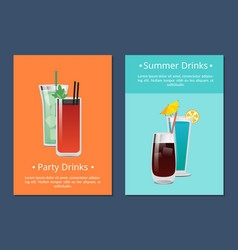 Summer party alcohol drink poster with bloody mary vector