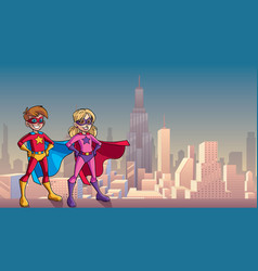 Super kids city background vector