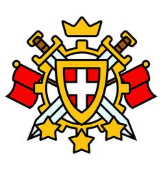 Swords shield cartoon emblem vector