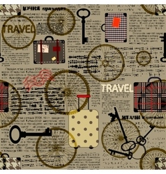 Travel newspaper background vector