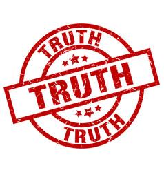 truth round red grunge stamp vector image