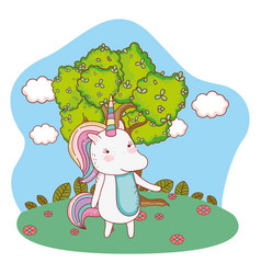 unicorn outdoors cartoon vector image