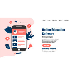 webpage template online education app vector image