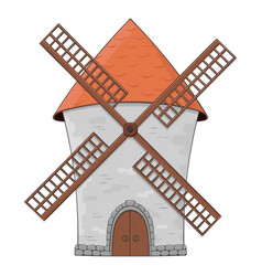 windmill colored doodle vector image