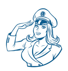 woman captain a sea ship vector image