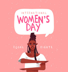 Womens day greeting card for equal women rights vector