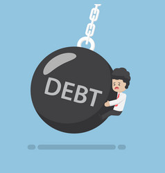 businessman is hit by debt wrecking ball vector image