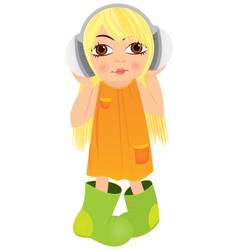 Cartoon girl headphone vector image