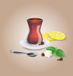 cup of tea black mint lemon tea tea spoon i vector image vector image