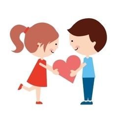 cute little couple characters vector image