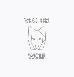 linear wolf symbol vector image vector image