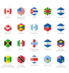North America and Caribbean Flag Icons Hexagon vector image vector image