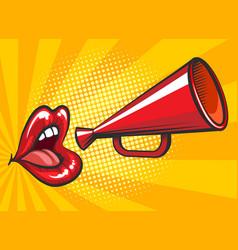 pop art loudspeaker and lips poster vector image