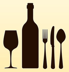 Wine Bottle and Cutlery vector image vector image