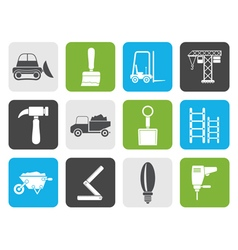 Flat building and construction equipment icons vector