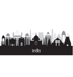 india landmarks skyline in black and white vector image vector image