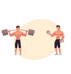 man bodybuilder weightlifter working out vector image