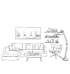 Modern interior room sketch S vector image