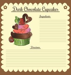 recipe dark chocolate cupcake vector image