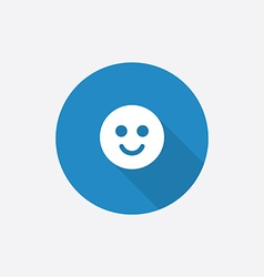 smile Flat Blue Simple Icon with long shadow vector image vector image