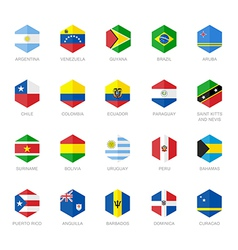 South America and Caribbean Flag Icons Hexagon vector image