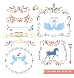 Cute retro floral set with wedding iconsdoodle vector image vector image