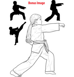 girl practicing karate vector image